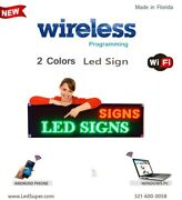 Led Sign - 2 Colors - 15and039and039 X 40and039and039 - Wifi-wireless Programmable Scrolling Sign