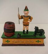 Vintage Hubley Trick Dog And Clown Cast Iron Mechanical Bank - Taiwan Reproduction