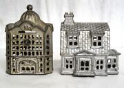 2 Antique Still Banks Cast Iron Victorian House And Bank Building A C Williams