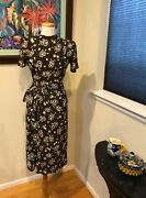 Vintage 40and039s Cold Rayon Foral Print Dress Iconic Wwii Era Historic Dress - S
