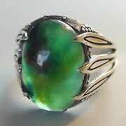 Rare 16.60 Ct Natural Gem Silica Chrysocolla Ring 925 Sterling Silver.11.5