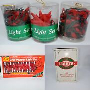 Lot 5 Vintage String Plastic 35 Red 3 Jalapenos Chili Peppers Christmas Lights