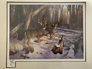 Rare Hayden Lambson Signed A/p Remarque Edition Buck And Doe Print 25/25