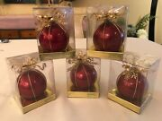 Dept 56 Vintage Christmas Ornaments Red Glass Gold Metal Lot Of 5 W/ Boxes