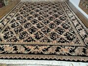 10and039 X 14and039 Hand Made Fine Chinese Allover Floral Wool Rug Hand Knotted Black Nice