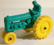 Auburn Toy Tractor Vintage Rubber Excellent Green Yellow Color Combo
