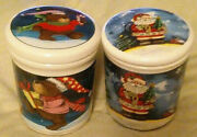Christmas Bear And Santa Round Medium Size Cookie Jars W.lids/ Candy Containers.