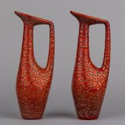 Pair Of Vintage Zsolnay Red Eosin Large Crackle Ceramic Vases 2 Pieces
