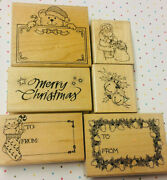 Merry Christmas Rubber Stamps Holiday Frames To From Tags Vintage Hero Arts Lot
