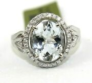 Oval Aquamarine And Diamond Halo Solitaire Ladyand039s Ring 14k White Gold 3.30ct