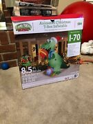 9and039 Lighted Animated T-rex Dinosaur Presents Christmas Inflatable Airblown Gemmy