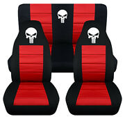 Front+rear Car Seat Covers Black-red W/punisher Skull Fits Wrangler Yj /tj /lj