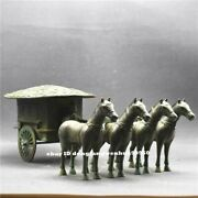 Collect Chinese Ancient Copper Bronze Soldier Carriage Horse Vehicle Gharry