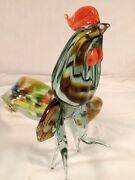 Vtg Murano Glass Rooster Cock Figurine 1960's Large Size 12 Nice Lot B
