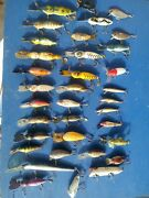 Lot Of 35 Old Vintage Wood Fishing Lures - Heddon. Top Water Bass .