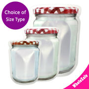 Multi-size Red/clear/red Matte Mylar Bottle Shape Stand Up Zip Lock Pouch Bag