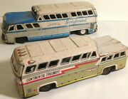 Greyhound And Continental Toy Buses Lot Of 2 Vintage Tin Litho Friction Japan