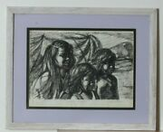 Children Of Hawaii By Anthony Sidoni Pen And Ink Study For Oil Painting