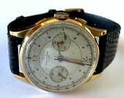 .750 18k Solid Yellow Gold Chronographe Suisse Lizard Band Mens Mechanical Watch