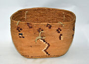 Antique Coast Salish Indian Imbricated Creel Basket With Hide Handles