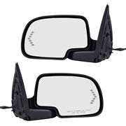 Pair Set Power Side Mirrors Heated Signal On Glass For 03-07 Gm Pickup Truck Suv