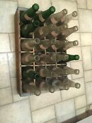 Vintage Towne Club Wooden Soda Pop Crate With Dividers Glass Bottles Green Clear
