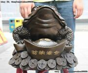Folk Bronze Copper Home Feng Shui Yuan Bao Wealth Spittor Toad Gold Toad Statue