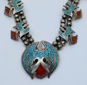 Vintage Thunderbird Navajo Turquoise Coral Chip Inlay Squash Blossom Necklace