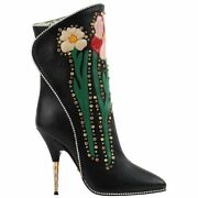 A/w 2017 Andldquofoscaandrdquo Black Floral Applique Studded Crystal Leather Heels Boots