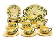 And Co Portugal Porcelain Tea And Dessert Service For 6, Basketweave Texture