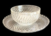 Large Baccarat Depose Cut Glass Centerpiece Punch Bowl With Underplate Rippled