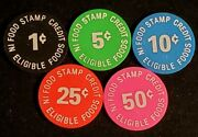 Set Of 5 Ben's Thrifty Market Sioux City Iowa Food Stamp Tokens Gft174