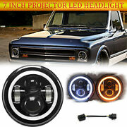 7 Projector Round Led Headlight Amber Halo Drl For Chevy C10 C20 Pickup Nova