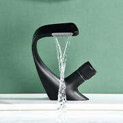 New Unique Bathroom Kitchen Sink Basin Faucet Brass Black Hotandcold Waterfall Tap