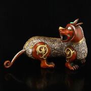Chinese Old Antique Bronze Gilt Silver Plated Gem Inlay Beast Statue Decoration