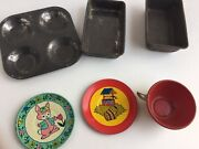 Vintage Tin Litho Ohio Art Teacup Saucers Jack And Jill And Toy Baking Pans Lot