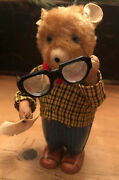 Vintage Bruno The Spectacle Dancing Bear-windup Toy By Alps Cleans His Glasses