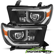 For 2007-2013 Toyota Tundra 08-17 Sequoia Black Led Projector Headlights Pair