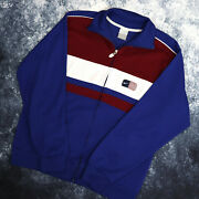 Vintage 90and039s Blue Burgundy And White Nike Usa Track Jacket | Small
