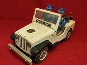 Antique Litho Police Jeep Tin Toy 11 Long, Trade Mark, Modern Toys Japan
