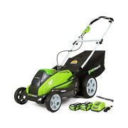 Greenworks Cordless Lawn Mower Outdoor 19 Inch 40v 4.0 2.0 Ah Batteries 25223