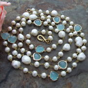 Natural White Baroque Keshi Pearl Blue Crystal 44 Necklace