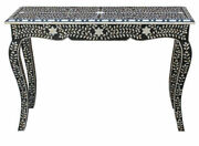 Handmade Mother Of Pearl Inlay Curved Shape Console Table