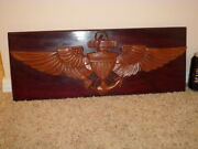 [us Navy] U.s. Naval Aviator Wings Logo Solid Wooden Wall Plaque Sign 1960and039s
