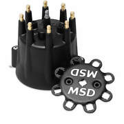Msd 84333 Black, V8 Distributor Cap With Hei Terminals And Spark Plug Wire