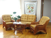 Jam Rattan Set 2 Chairs Loveseat Coffee Table Colonial Light Brown Cushions