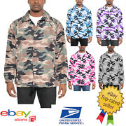 Menand039s Light Weight Camo Coachand039s Jacket Wind Breaker Snap Button Closure