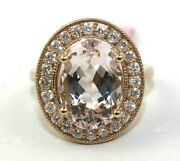 Oval Morganite And Diamond Halo Solitaire Ladyand039s Ring 14k Rose Gold 7.36ct