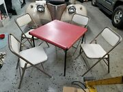 Set Of 4 Vintage Samsonite Folding Chairs And Red Card Table Metal Padded Ex Cond