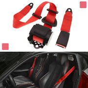 Red Adjustable Car Retractable 3 Point Extension Strap Seat Safety Nylon Belt